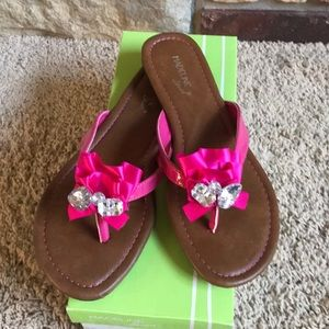 Madeline Hot Pink Patent Thong Sandal